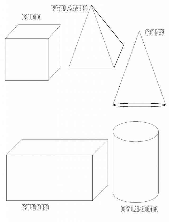 3D Shapes Coloring Pages For Teenagers