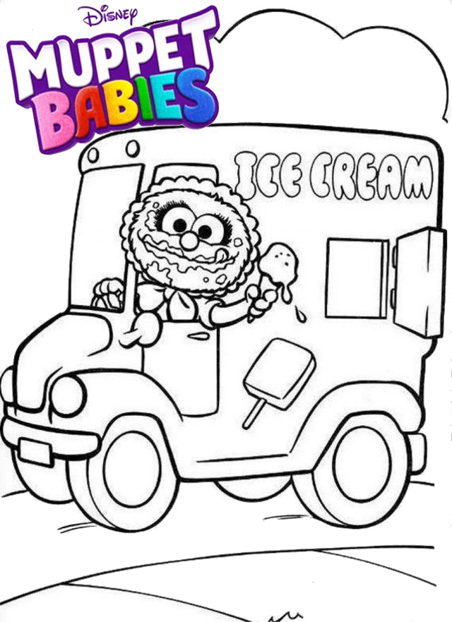 Baby Animal Selling Ice Cream Muppet Babies Coloring Page