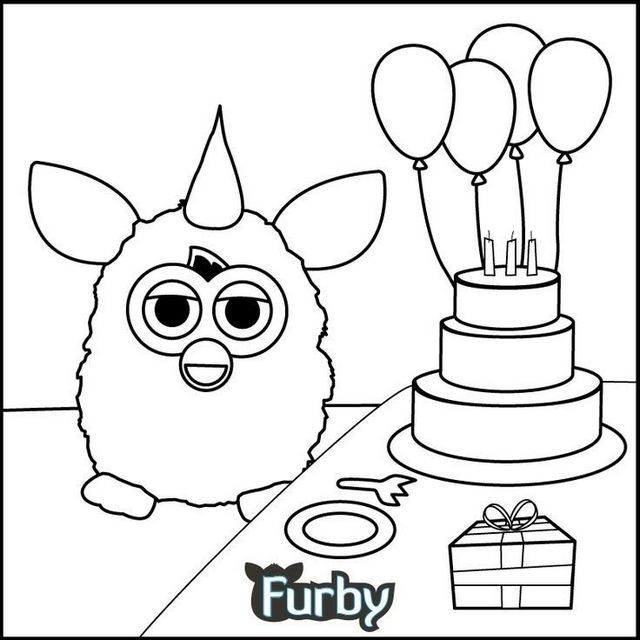 Brithdays Furby Coloring Page for Kids