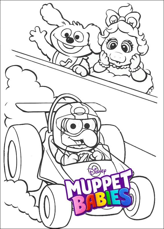 Disney Muppet Babies Racing Car Coloring Sheets