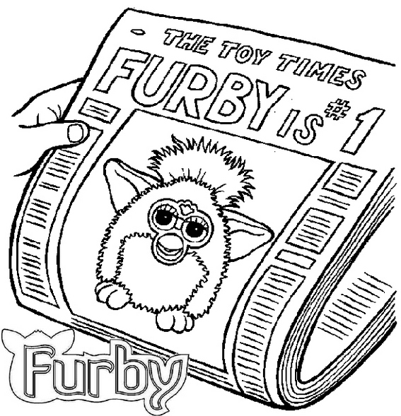 Furby on Newspaper Coloring Page