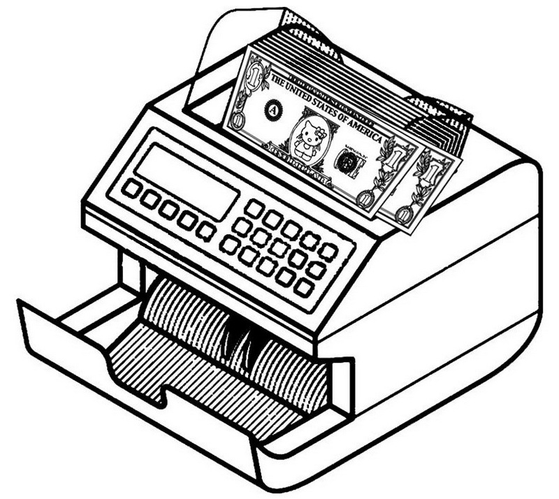Money Counting Machine Coloring Sheets