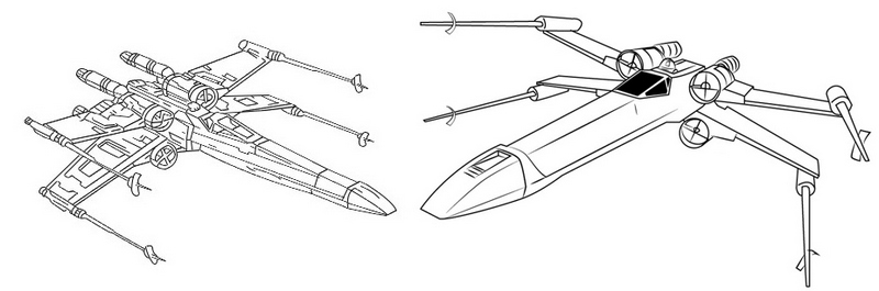 Nave X Wing Fighter Star Wars Coloring Page for Children