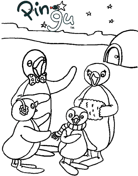 Pingu Family Coloring Page for Kids