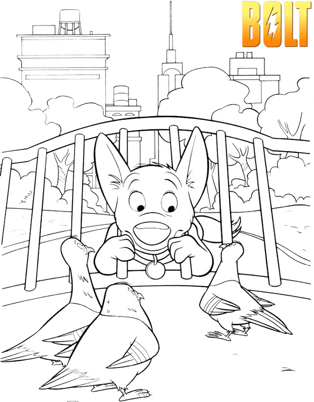 Top Bolt Walt Disney Coloring Page