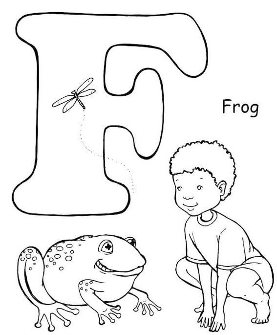 Yoga Pose like a frog letter F coloring page