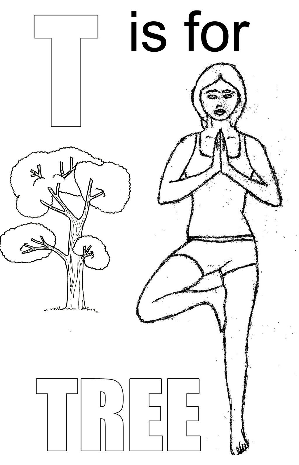 Yoga pose like Tree Letter T coloring page for kids