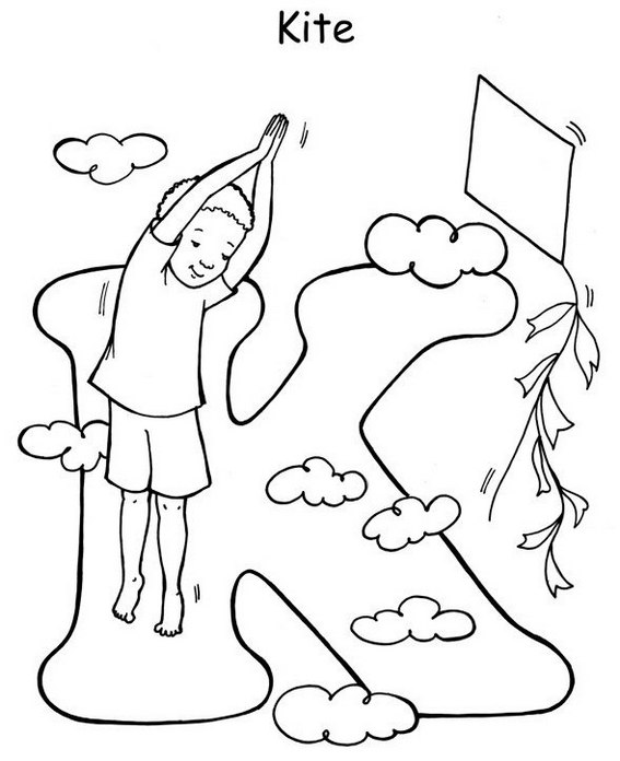 Yoga pose like a kite letter K coloring page for kids