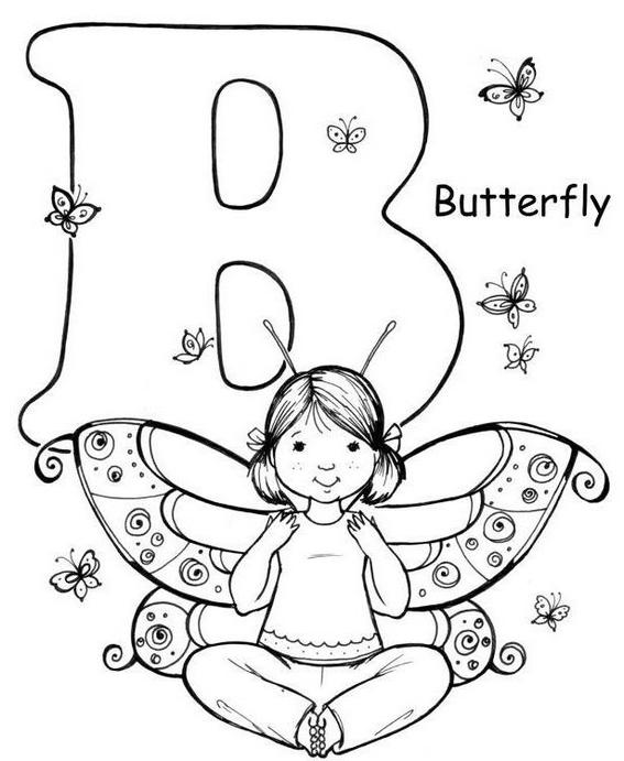 Yoga pose like butterfly Letter B coloring page for kids
