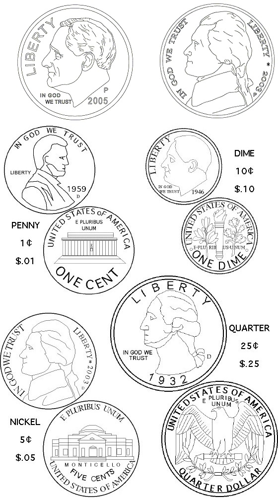 coin varieties coloring page
