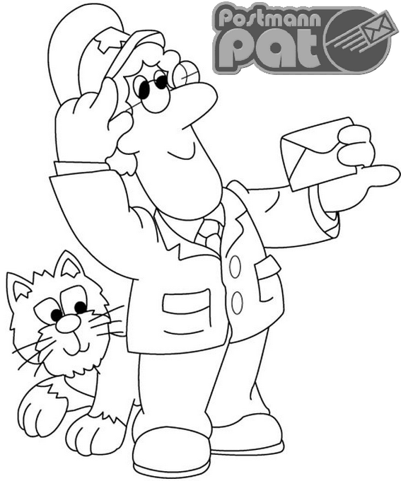 fun postman pat coloring page for children