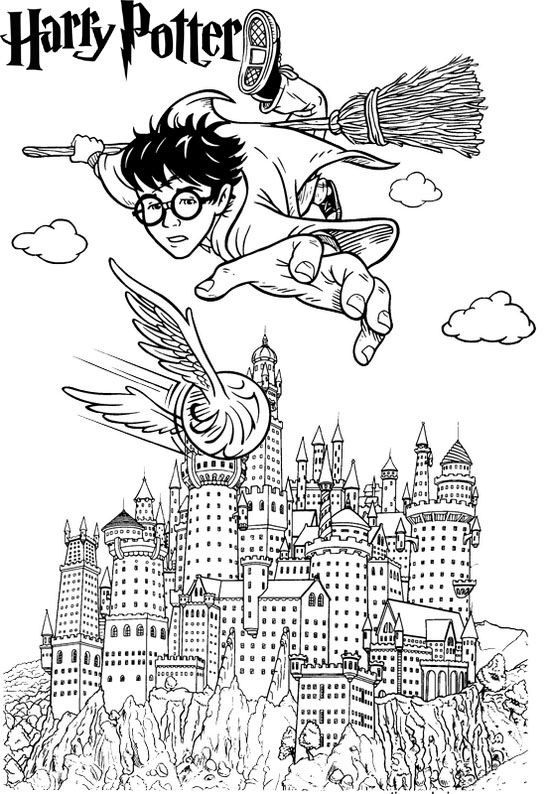 It is a graphic of Eloquent Hogwarts Coloring Page