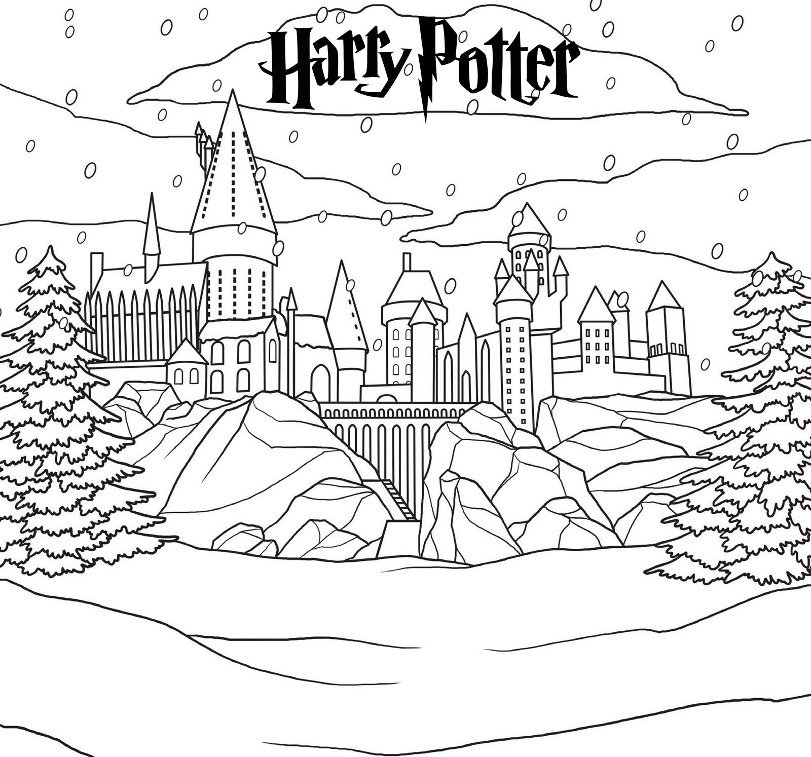 This is a graphic of Massif Hogwarts Coloring Page