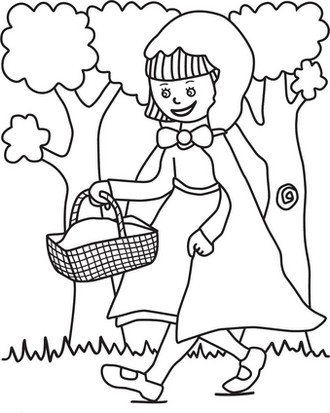 little red riding hood in the jungle coloring page