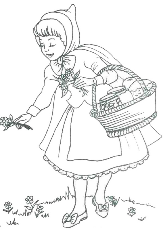 little red riding hood picking flowers coloring page