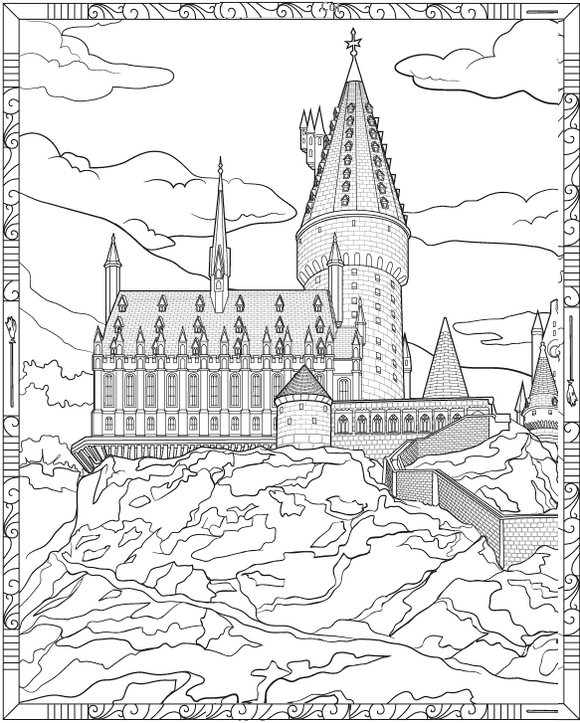 This is a picture of Soft Hogwarts Coloring Page