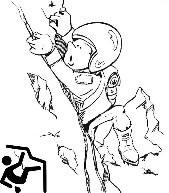 Cute Rock Climbing Cartoon Coloring Picture