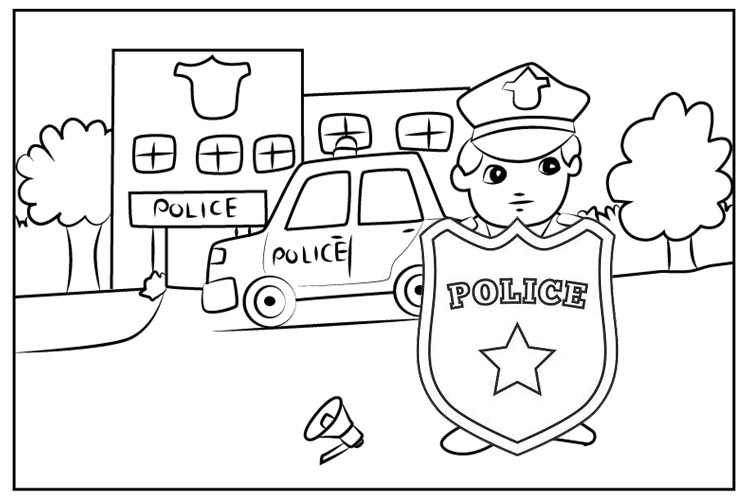 Policeman and Police Car outside Police Officer Coloring Page