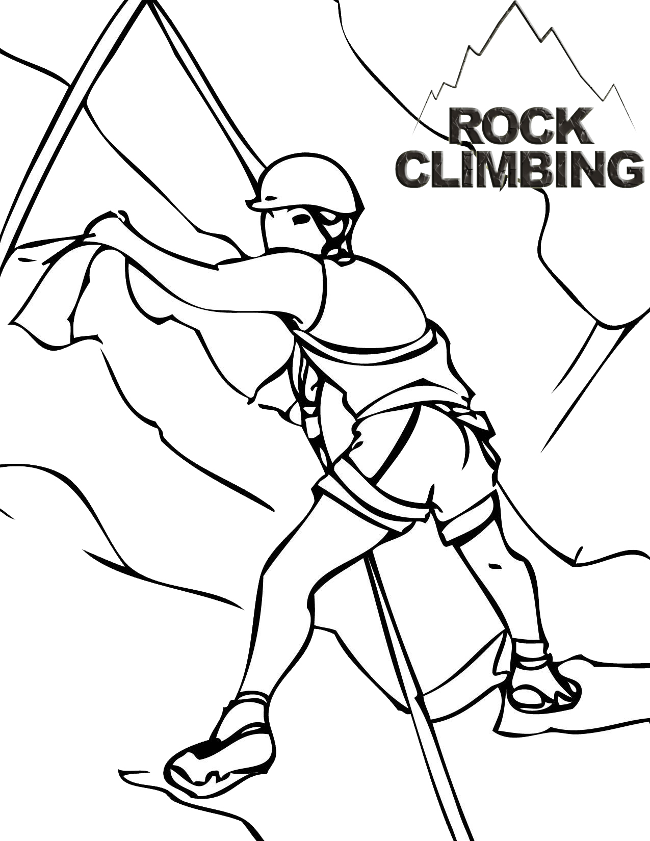 Rock Climbing Summit Coloring Page