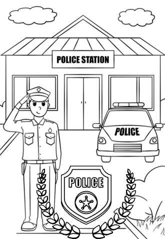 police station coloring page for children