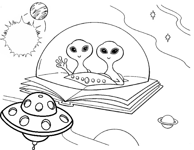 Alien flying UFO coloring pages