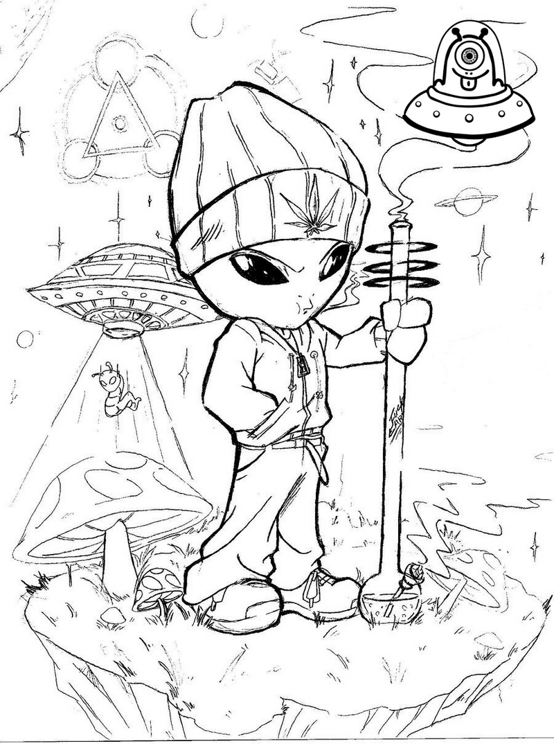 Alien on the earth coloring page