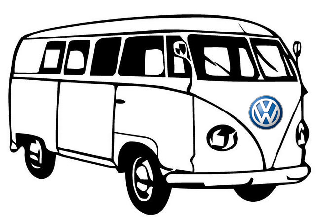 Bus VW T1 Series Coloring Page