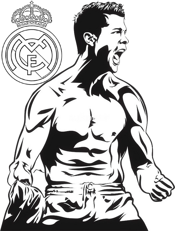 C Ronaldo Real Madrid Coloring and Drawing Page