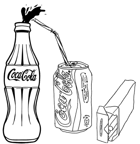 Coca Cola Soft Drink Bottle Coloring Page