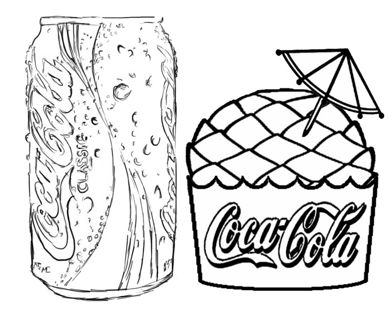 Coca Cola and Ice Cream Coloring Page