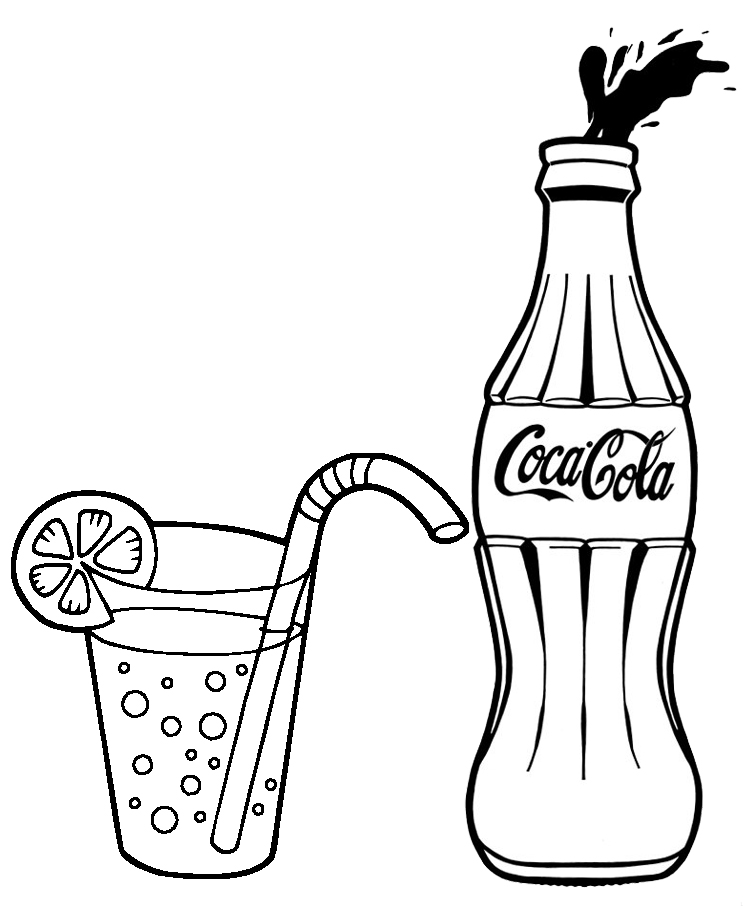 Coca Cola and a glass of lemonade coloring page