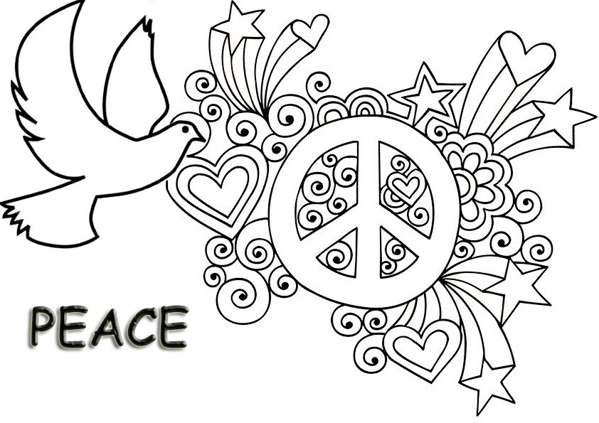 Colorful Peace Sign Coloring Page