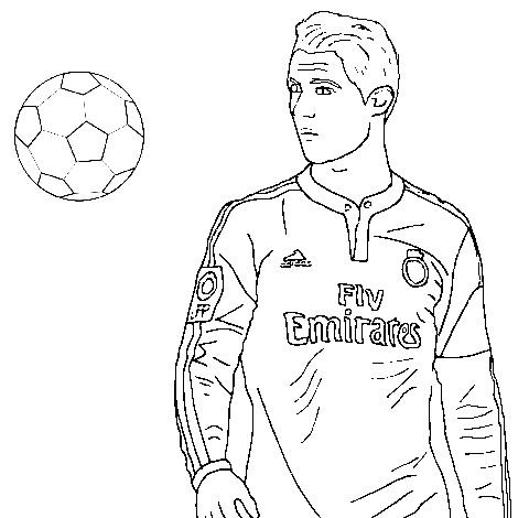 Cristiano Ronaldo and Ball Coloring Page