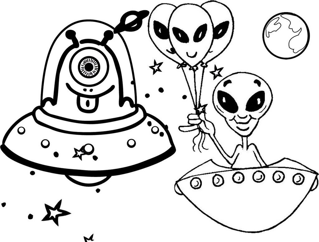 Free Alien UFO Coloring Page