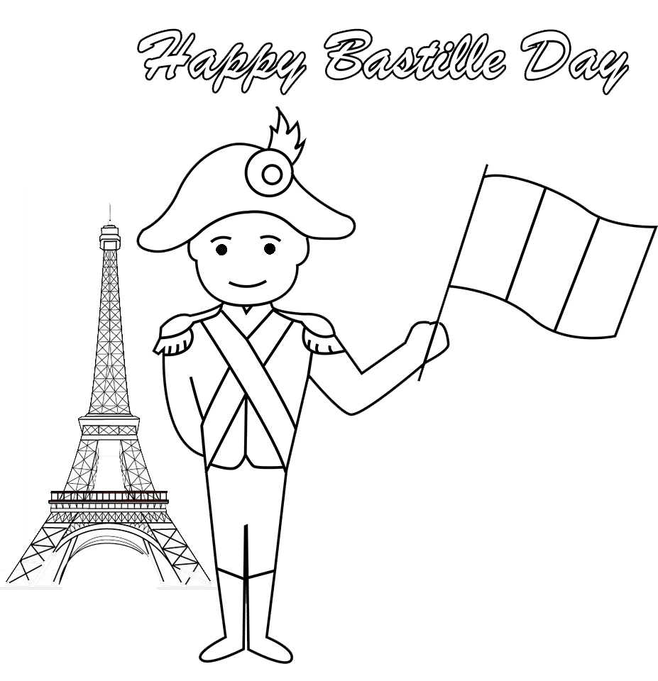 Happy Bastille Day France Coloring Page