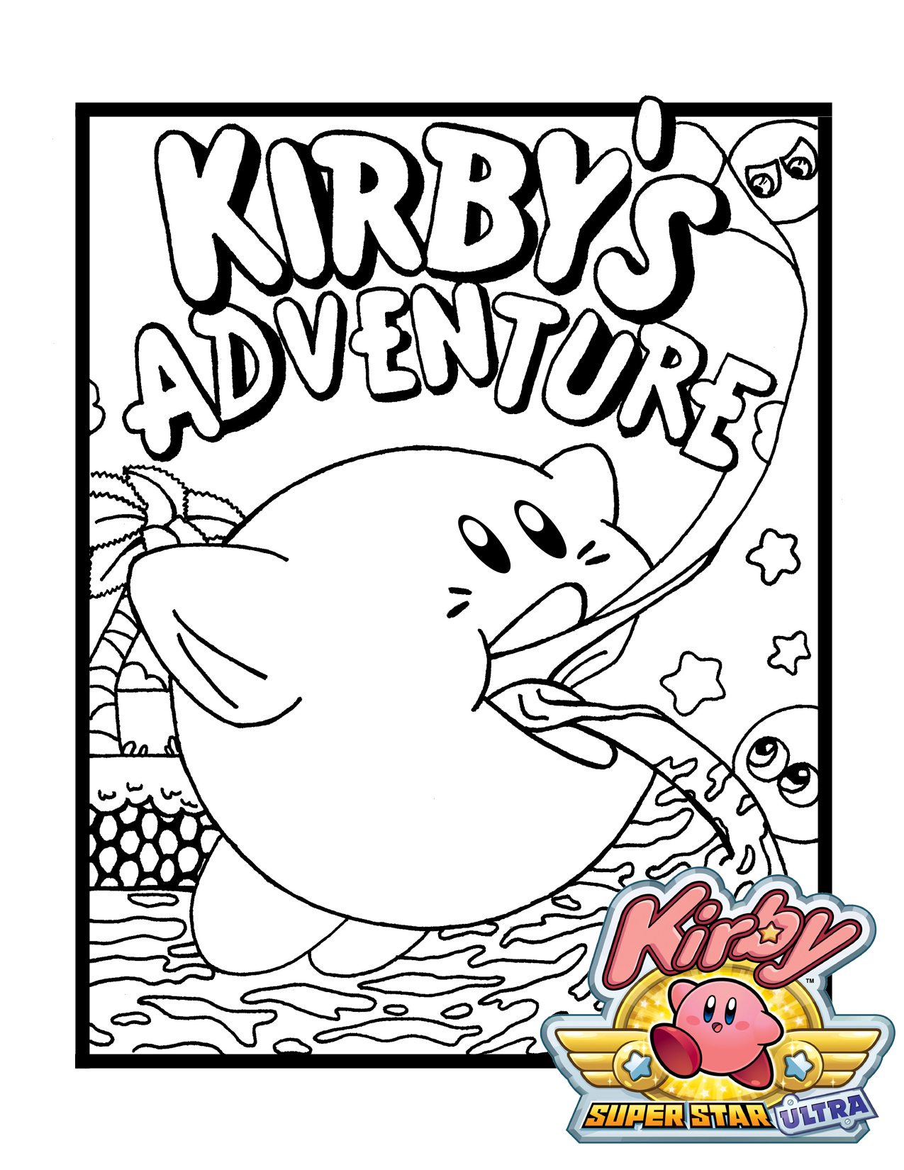 Kirby Adventure Coloring Page Printable