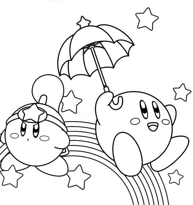 Kirby Rainbow Coloring Sheet