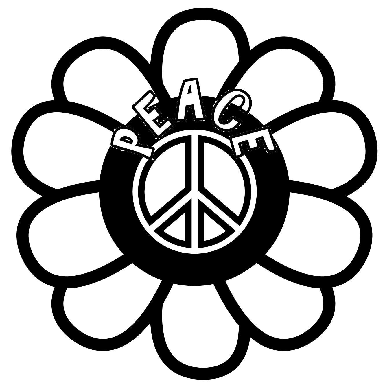 Peace Sign in Sunflower Coloring Page