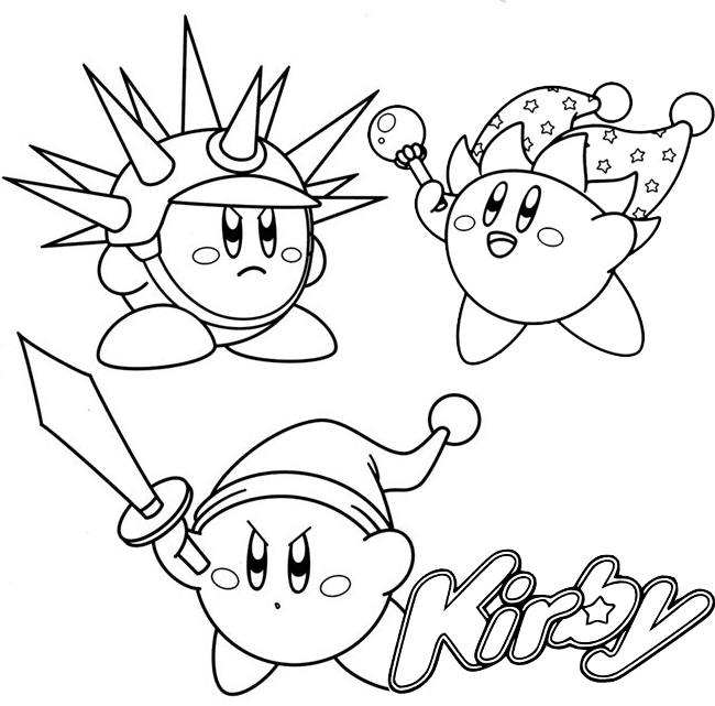 Sword Beam and Needle Kirby Coloring Page