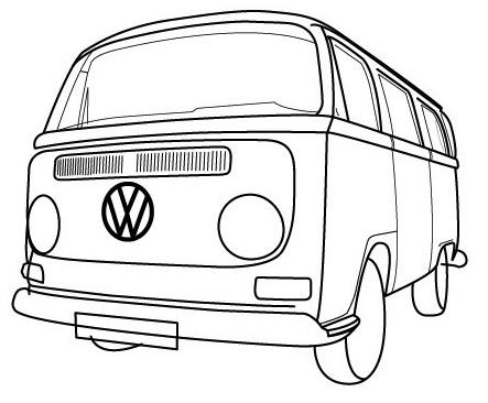 Vintage Bus VW Coloring Pages