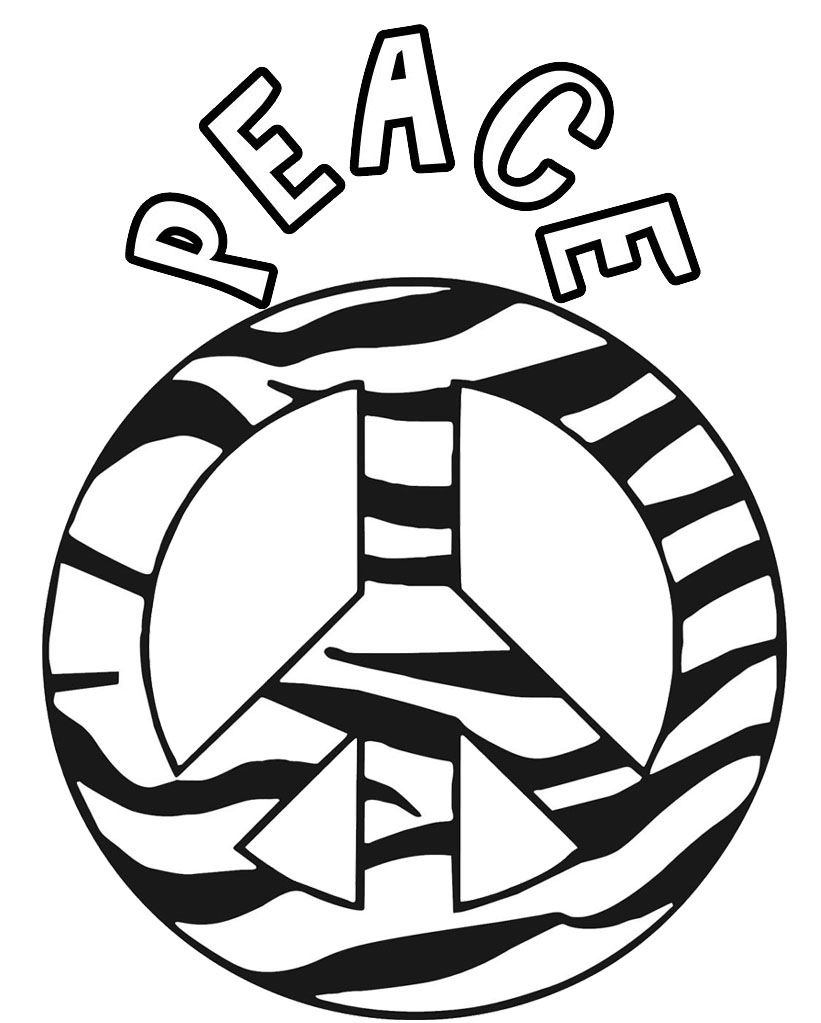 Zebra Peace Sign Coloring Page
