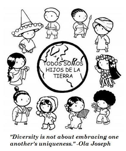 inspirational quotes of multicultural diversity in unity coloring page