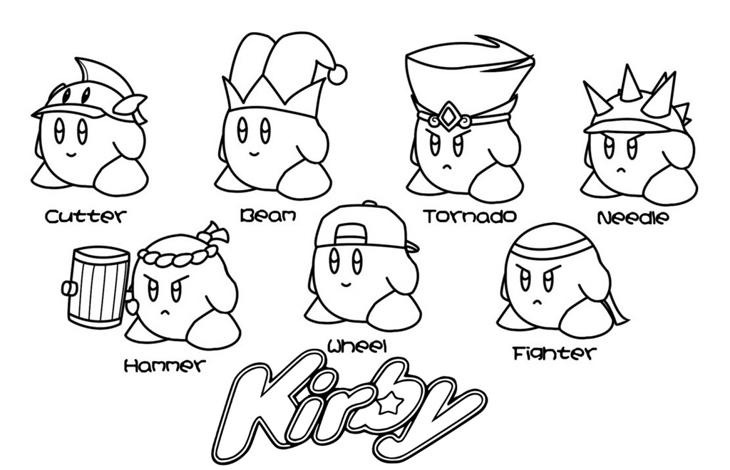 kirby characters coloring pages