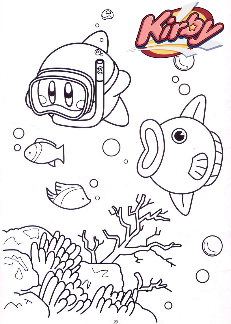 kirby undersea coloring page