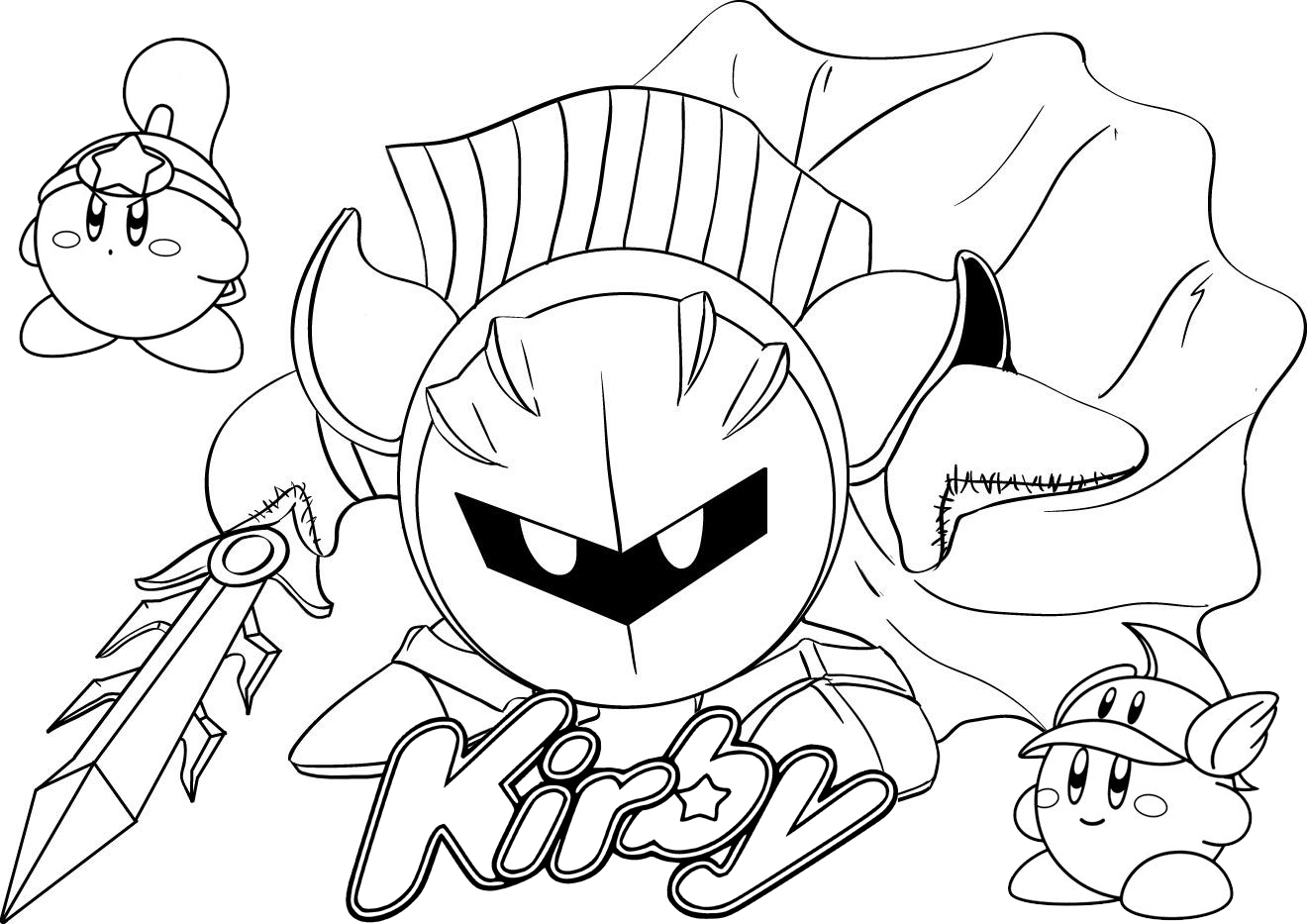 meta knight from kirby coloring page drawing