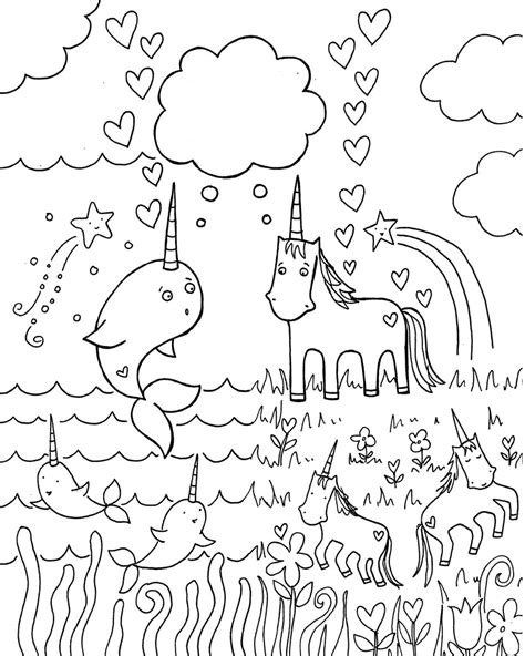 narwhale and unicorns coloring page