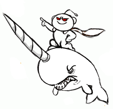 riding narwhale cartoon coloring page