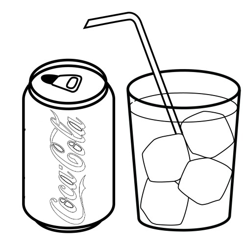 soft drink coca cola and a glass of drink coloring page