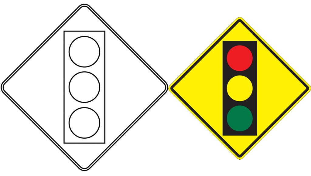 traffic signal ahead traffic light warning road sign