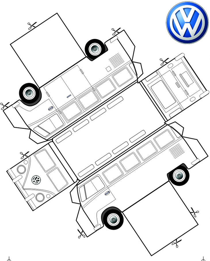 vw bus design layout coloring page